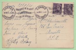 """FLAMME - CANNES  """"CELEBREZ LE 31 AOUT L'ANNIVERSAIRE DE LA LEGION"""" - 1941 - - 1921-1960: Modern Period"""