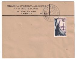 GREVE De AOUT 1953 - LETTRE Avec CACHET + ENTETE De LA CHAMBRE De COMMERCE D'ANNECY TIMBRE HAUTE COUTURE - Postmark Collection (Covers)