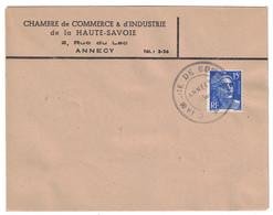 GREVE De AOUT 1953 - LETTRE Avec CACHET + ENTETE De LA CHAMBRE De COMMERCE D'ANNECY TIMBRE GANDON - Marcophilie (Lettres)