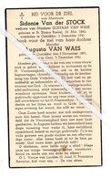 SIDONIE VAN DER STOCK ° ST.BLASIUS BOEKEL 1891 + OOSTAKKER 1941 AUGUSTA VAN WAES  ° OOSTAKKER 1891 + GENT 1941 - Images Religieuses