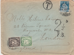 Suisse Lettre Taxée En Grande Bretagne 1923 - Poststempel