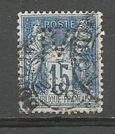 1878 – N°90 (o) - 15 C Bleu - SAGE TYPE II - Oblitéré - Perforé M - 1876-1898 Sage (Type II)