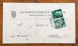 PROPAGANDA DI GUERRA 25 C. SU PIEGO GOVERNATORATO DI ROMA PER SCORZE' IN DATA 27/12/42 - 1900-44 Vittorio Emanuele III
