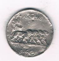 50 CENTESIMI 1921 R ITALIE/ 1517// - 1861-1946 : Royaume