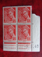 1938-40 CERES N° 412 ** TYPES MERCURE BLOC DE 4 COIN DATES - Dated Corners