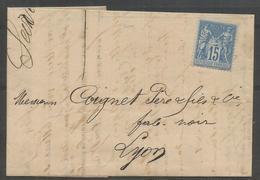 1878 – N°90 (o) - 15 C Bleu - SAGE TYPE II - Oblitéré - SEUL SUR LETTRE  - Timbre Non Oblitéré - Vignette Exp. Verso - 1876-1898 Sage (Type II)