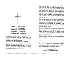 HENDRIK INDEKEU ° MEEUWEN 1898+ GENK 1977/ OUDSTRIJDER 1914-1918 /CHRISTINE CARDINAELS - Images Religieuses