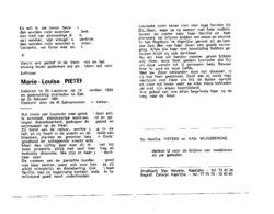 MARIE-LOUISE PIETERS ° ST.LAUREINS 1898 + EEKLO1991 - Images Religieuses