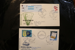 Argentina Antarctic Covers Map Flower FAO El Dia Naval Base Orcadas Cachet Cancel Whales 1984 1985  A04s - Stamps