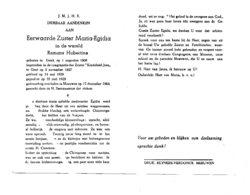 EERW.ZUSTER MARIA EGIDIA ° GENK 1908 + MEEUWEN 1964 / HUBERTINE REMANS - Images Religieuses