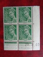 1938-41 CERES N° 414 B ** TYPES MERCURE BLOC DE 4 COIN DATES - 1930-1939