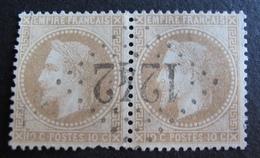 R1970/11 - NAPOLEON III Lauré (PAIRE) N°28A (pliure) - SUPERBE LGC 1242 : CRUSEILLES (Haute Savoie) ➤➤ INDICE 7 - 1863-1870 Napoleon III With Laurels