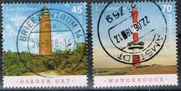 Bund 2018, Michel# 3391 - 3392 + 3496 O Leuchttürme: Darßer Ort Und Wangerooge - BRD