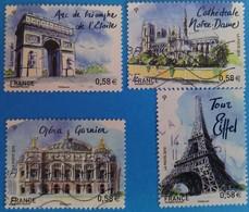 France 2010  : Capitales Européennes; Paris N° 4514 à 4517 Oblitérés - France