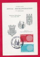 CARTE MAXIMUM - JUMELAGE - DOUAI-RECKLINGHAUSEN - 5éme ANNIVERSAIRE - EXPOSITION PHILATELIQUE - 2 Et 3 MAI 1970 A DOUAI - Cartes-Maximum