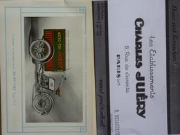 Ets Charles Juéry, Catalogue Ancien, Moto-Tri, Tri-Porteur, Cyclo-Livreur - Publicités