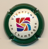 Capsule, Muselet : VIGNERONS EN CHAMPAGNE, Bordure Verte, Logo - Champagne