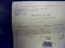 Facture INSTRUMENTS DE PESAGE BOLLÈ Durand Balancier A Bar Le Duc Annèe 1922 - Francia