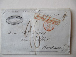 LETTRE  MARQUE POSTALE   NOUVELLE  ORLEANS   / BORDEAUX    1842 - 1801-1848: Precursors XIX