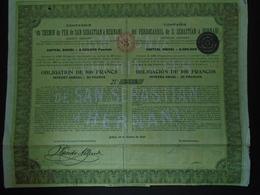 ESPAGNE 6 CDF DE S. SEBASTION A HERNANI - OBLIGATION 500 FRS - BILBAO 1905 - ETAT MOYEN - Shareholdings