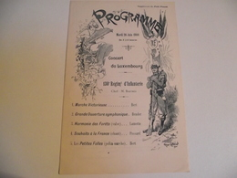 Programme, CONCERT Du LUXEMBOURG, 1900, 130 Ième Régimt INFANTERIE - Programs