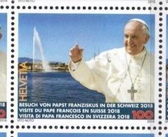 SWITZERLAND, 2018, MNH, POPES, POPE FRANCIS, VISIT TO SWITZERLAND, GENEVA , FOUNTAINS, 1v - Popes