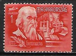 HONGRIE     -    Aéros   -    1948  .   Y&T N° 70 **.   Gutenberg  /  Imprimerie  /  Livres - Airmail