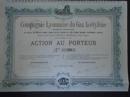CIE LYONNAISE DU GAZ ACETYLENE - ACTION 1 000 FRS, PETIT TIRAGE : 250 ACTIONS - LYON 1897 - Shareholdings