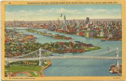 W1258 New York - Triborough Bridge - Looking Down East River From Over Hellgate / Viaggiata 1955 - Viste Panoramiche, Panorama