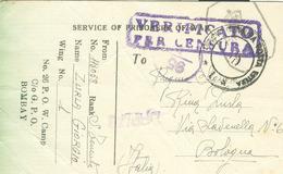 """PRIGIONIIERI DI GUERRA-  PRISONERS OF WAR""""N.26 P.O.W. CAMP """"G.P.O. BOMBAY(INDIA),CENSURA,per BOLOGNA - 1939-45"""