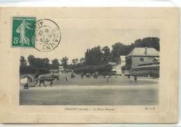 CPA 02 Aisne Chauny La Place Bouzier Attelage - Chauny