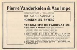 1947 - HOBOKEN-lez-ANVERS - Pierre Vanderkelen & Van Impe - Dim. 1/2 A4 - Advertising