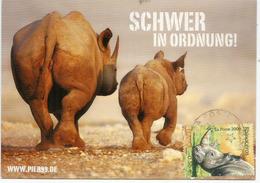 Rhinocéros Et Son Petit,  Carte-Maximum France - Rhinocéros