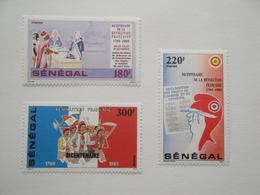 1989 Sénégal Yv 797/9 ** MNH French Revolution Française Cote 9.50 € Michel 1015/7 Scott 814/6 - Sénégal (1960-...)