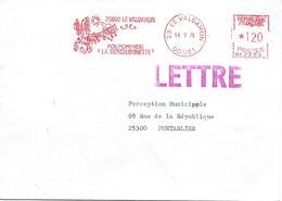 """25 LE VALDAHON  16-9-76 POUPONNIÈRE """"LA BERCELONNETTE"""" - Affrancature Meccaniche Rosse (EMA)"""