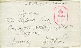"PRIGIONIIERI DI GUERRA- ITALIAN PRISONERS OF WAR CAMP ""GREAT BRITAIN"",1943,CENSURA, Per ROMA - 1939-45"