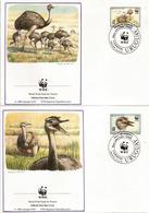 Autruche D'Amérique. Le Nandou . Le Plus Grand Oiseau D'Amérique. Deux FDC's  D'Uruguay. WWF - Autruches