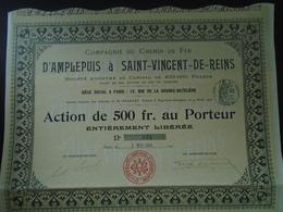 RHONE - NOUVEAU - CDF D'AMPLEPUIS A ST VINCENT DE REINS - ACTION DE 500 FRS - PARIS 1906 - Shareholdings