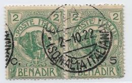 Somalia, Scott # 11 Used Pair Elephant, Surcharged, 1907, CV$24.00 - Somalia
