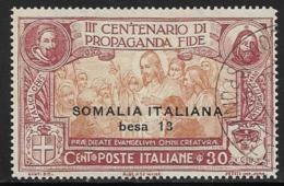 Somalia Scott # 52 Used Italy Propagation Of The Faith Issue, Surcharged, 1923, CV$40.00 - Somalia