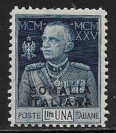 Somalia Scott # 68 Mint Hinged Italy Victor Emmanuel Lll Stamp Overprinted, 1925 - Somalia