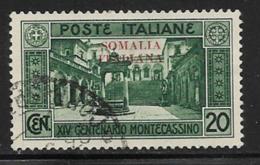 Somalia Scott # 104 Used Italy Monte Cassino Stamp Overprinted, 1929, CV$15.50 - Somalia