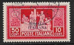 Somalia Scott # 106 Used Italy Monte Cassino Stamp Overprinted, 1929, CV$16.50, Light Thin - Somalia