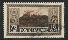 Somalia Scott # 107 Used Italy Monte Cassino Stamp Overprinted, 1929, CV$16.50, Thin - Somalia