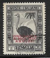 Somalia Scott # 160 Used Ostrich, Overprinted,1934, CV$37.50 - Somalia