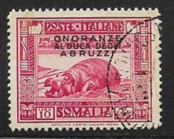 Somalia Scott # 161 Used Hippopotamus, Overprinted,1934, CV$37.50 - Somalia