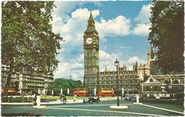 W1268 London - Big Ben And Parliament Square - Auto Cars Voitures Bus Autobus / Viaggiata 1965 - Altri