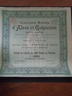 ESPAGNE ET PORTUGAL - CIE MINIERE D'ALAVA ET GUIPUZCOA - BRUXELLES 1898 - Shareholdings