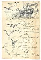Menu 1927 - Bateau De Pêche Et Mouettes, Signé A. Turlan - Menus