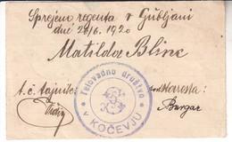 3834    SOKOL KOČEVJE   -SPREJEM REGENTA ALEKSANDRA  1920 - Slovénie